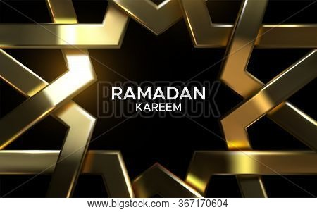 Ramadan Kareem. Golden Arabic Pattern. Vector 3d Illustration. Realistic Woven Frame. Girih Ornament