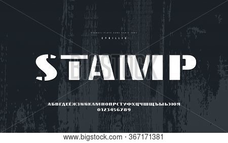Cyrillic Stencil-plate Sans Serif Font In Military Style. Bold Face. Letters And Numbers For Logo An