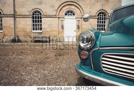 Castle Howard, Yorkshire, Uk - May 19, 2020.  A Close Up Of A Classic Blue, Vintage Morris Minor Pan