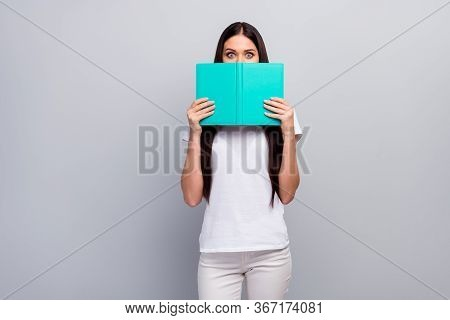 Portrait Of Her She Nice Attractive Lovely Funny Girlish Straight-haired Girl Hiding Face Behind Boo