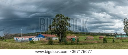 Ficksburg, South Africa - March 20, 2020: Panorama Of The Iona Cherry Farm Stall Near Ficksburg. A T