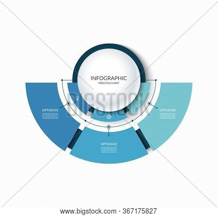 Infographic Semi Circular Chart Divided Into 3 Parts. Step-by Step Diagram With Three Options.