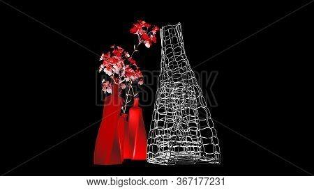 Vase Of Flowers On A Dark Background, Interior Design, 3d Rendering