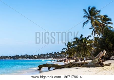 Punta Cana, Dominican Republic- March 11, 2020: Beautiful Wild And Sand Beach In Punta Cana, Dominic