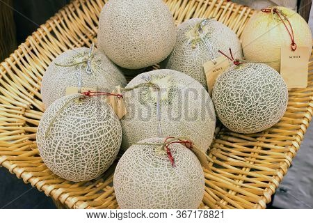 Fresh Ripe Melons Or Cantaloupe Melons Sell In The Market With Blurred Background.