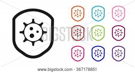 Black Shield Protecting From Virus, Germs And Bacteria Icon Isolated On White Background. Immune Sys