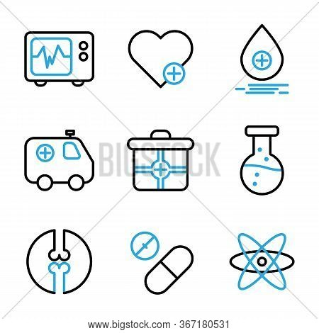 Medic Icon Set Include Cardiograph, Doctor, Medic, Medical, Health, Heart, Treatment, Love, Blood, D
