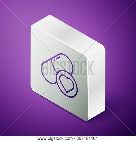 Isometric Line Pills For Potency, Aphrodisiac Icon Isolated On Purple Background. Sex Pills For Men