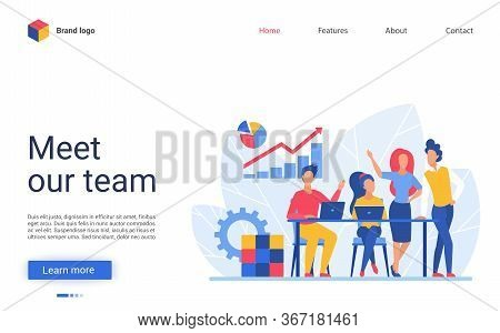 Business People Teamwork Vector Illustration. Website Interface Creative Design With Cartoon Flat Bu