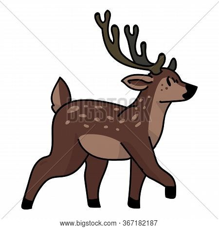 Cute Woodland Walking Deer Vector Illustration. Buck Deer With Antlers. Childlish Hand Drawn Doodle