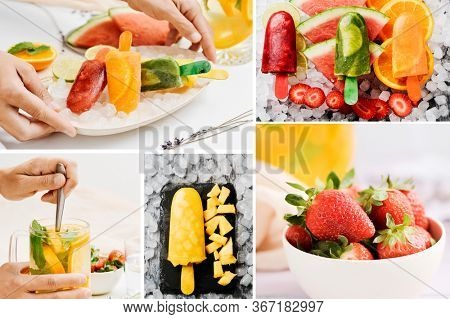 a collage of some pictures of fruit and different homemade natural ice pops made with natural fruit juices and pieces of fruit