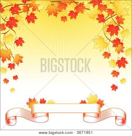 Back with maple leaf and ribbon on it poster