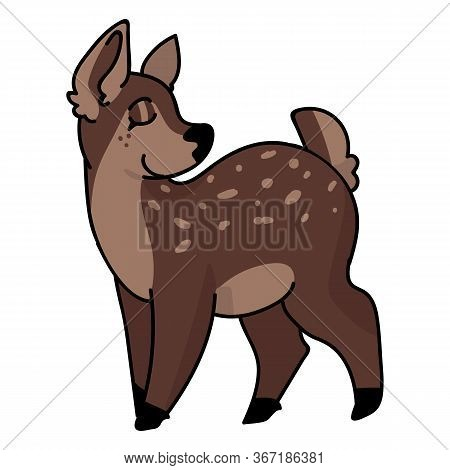 Cute Woodland Doe Deer Vector Illustration. Buck Deer With Antlers. Childlish Hand Drawn Doodle Styl