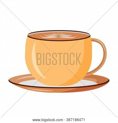 Cappuccino Cartoon Vector Illustration. Latte In Cup Flat Color Object. Delicious Beverage With Foam