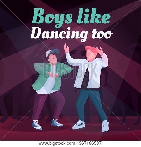 Free Dance Social Media Post Mockup. Boys Like Dancing Too Phrase. Web Banner Design Template. Recre