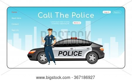 Call Police Landing Page Flat Color Vector Template. Law Enforcement Homepage Layout. Civil Service
