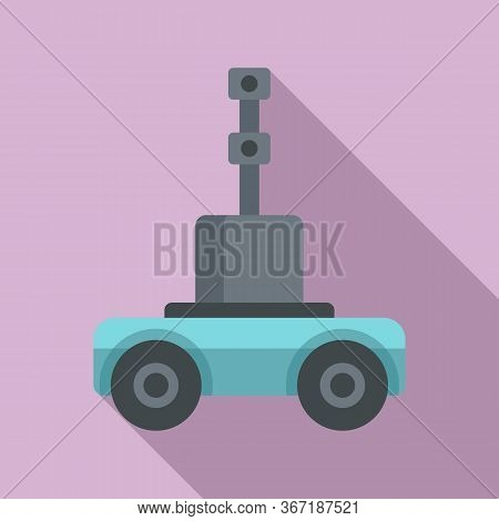 Self Driving Farm Machinery Icon. Flat Illustration Of Self Driving Farm Machinery Vector Icon For W