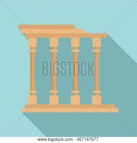 Turkish Ancient Columns Icon. Flat Illustration Of Turkish Ancient Columns Vector Icon For Web Desig