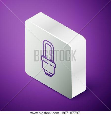 Isometric Line Led Light Bulb Icon Isolated On Purple Background. Economical Led Illuminated Lightbu