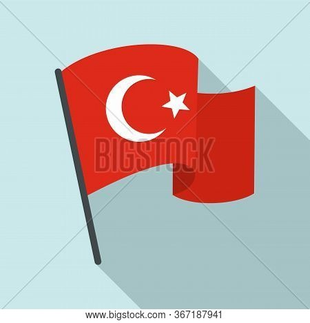 Turkey Flag Icon. Flat Illustration Of Turkey Flag Vector Icon For Web Design