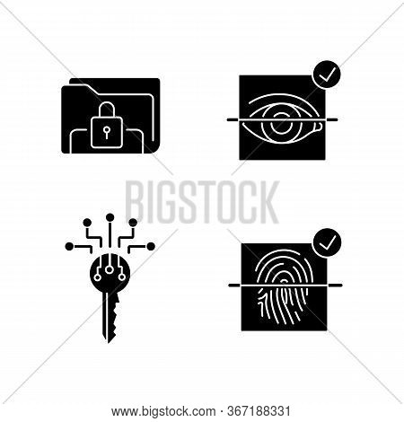 Personal Information Protection Black Glyph Icons Set On White Space. Internet Security System. Eye