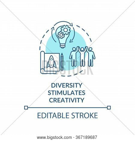 Diversity Stimulates Creativity Turquoise Concept Icon. Work In Multi National Group. Multi Cultural