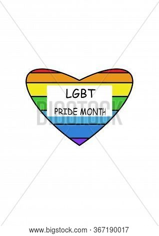 Symbols Lgbt. Rainbow Heart. Pride Flag. Freedom Flag. Red, Orange, Yellow, Green, Blue And Purple.