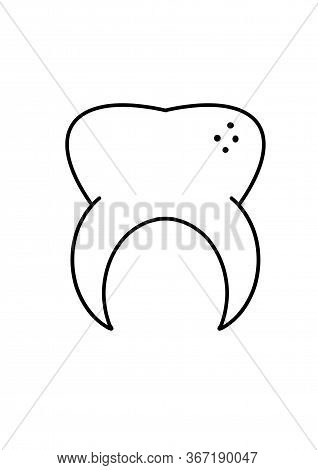 Tooth Cartoon Isolated. Doodle Tooth. Dental Health Concept. International Dentist Day. World Oral H