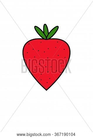 Strawberry. Big Round Strawberry On A White Background. Big Berries. Berry Design Template For Texti