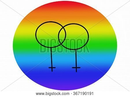 Symbol Womans In Doodle Style - Life, Gets, Better, Together. Hand Written Pride, Love. Gay Parade S