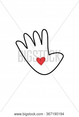 Hand With Heart. Hand With Heart In Doodle Style - Life, Gets, Better, Together. Charity And Donatio