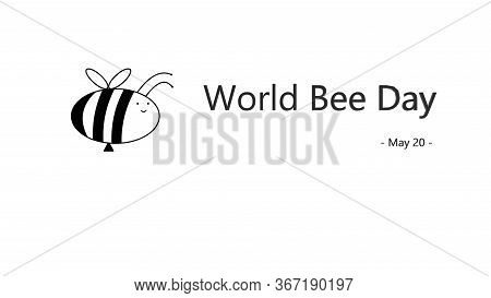 Beer Day Banner. World Bee Day. Doodle Style Bee