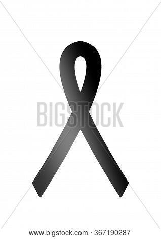 Black Ribbon Awareness. Modern Style Logo Illustration For May Month Awareness Companies. World Mela