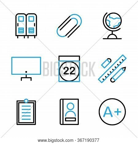 Education Icon Set Include Locker, Safe, School, Lockers, Attach, Tool, Attachment, Earth, Globe, Ma