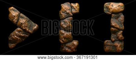 Set of rocky symbols right angle bracket, left and right square bracket . Font of stone on black background. 3d rendering