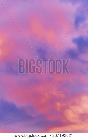 Incredible Crimson Sunset. Blurred. Vertical. Background. Space For Text.