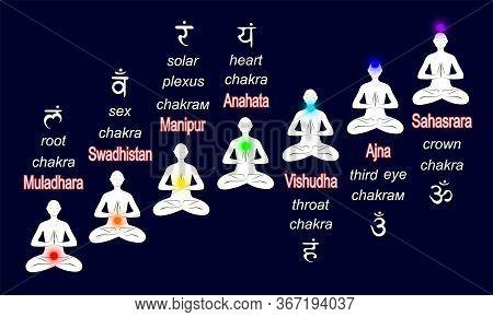 Chakra System - Muladhara, Svadhisthana, Manipura, Anahata, Vishuddha, Ajna, Sahasrara, Used In Yoga