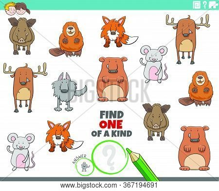 Cartoon Illustration Of Find One Of A Kind Picture Educational Game With Cute Wild Animal Characters