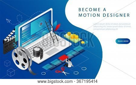 Isometric 3d Concept Of Video Editing, Video Production, Montage Courses. Man Shoot A Video, Then Ed