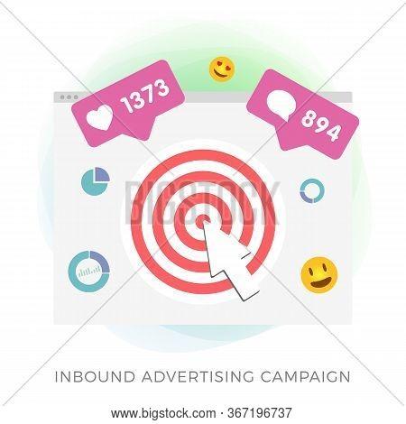 Inbound Advertising Flat Vector Icon - Programmatic Advertising Cross Targeting. Targeted And Digita