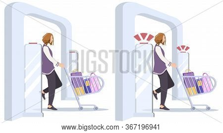 Set Vector Illustration, Woman Goes Through Anti-theft Sensor Gates. Security System Detect Barcode