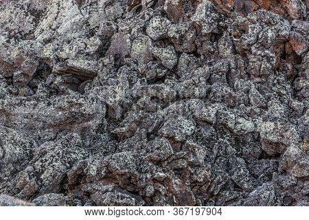 Rough Stone Texture. Stones Covered With Lichen. Lava Background Close-up. Rocky Desert. Lava Fields