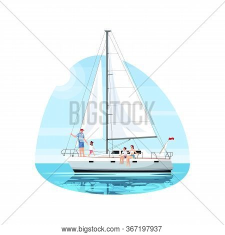 Family On Regatta Semi Flat Vector Illustration. Man With Daughter On Boat. Mother With Son On Ship.