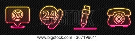 Set Line Pencil With Eraser, Mail And E-mail, Telephone 24 Hours Support And Telephone. Glowing Neon