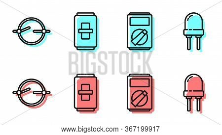 Set Line Multimeter, Electric Circuit Scheme, Electric Light Switch And Light Emitting Diode Icon