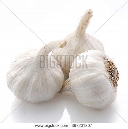 Garlic, Garlic Isolated On White Background,three Garlic