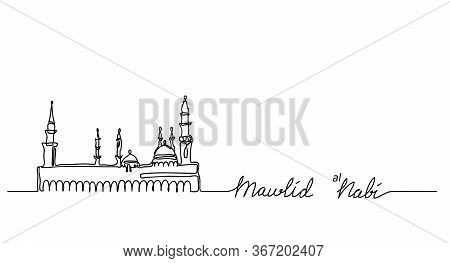 Mosque Nabawi One Continuous Line Drawing.mawlid An Nabi , Prophet Birth. Muhammad Prophet Birth Bac