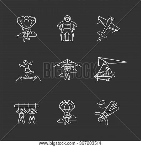 Air Extreme Sports Chalk Icons Set. Skydiving, Parachuting, Hang Gliding, Wingsuiting. Aerobatics, H