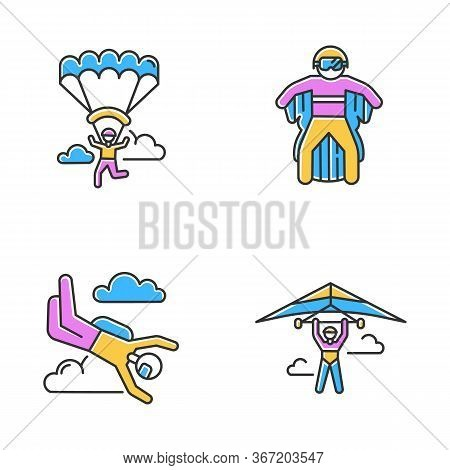 Air Extreme Sports Color Icons Set. Hang Gliding, Skydiving, Wing Suiting And Paragliding. Outdoor A