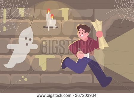 Horror Escape Room Flat Vector Illustration. Man In Basement Running From Ghost Cartoon Character. S